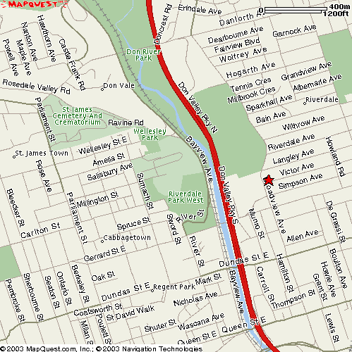 Street-level map showing 18 Victor Avenue.